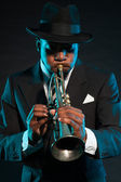 Schwarze afrikanische amerikanischer jazz-musiker. — Stockfoto
