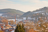Winter landscape of village in snow valley. — Stock Photo