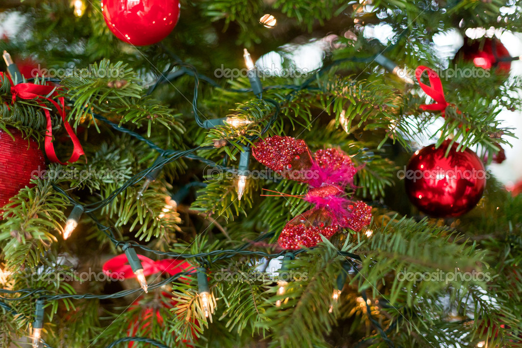 Red christmas decoration in tree. — Foto Stock #18155273
