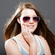Pretty brunette teenage girl. — Stock Photo