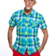 Studio portrait of active senior well dressed retired man. — Stock Photo