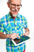 Studio portrait of active senior well dressed retired man. — Stock Photo