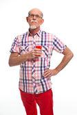 Studiový portrét aktivní senior dobře oblečený muž důchodce. — Stock fotografie