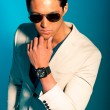 Asian man wearing suit and sunglasses. Summer fashion. Studio. — Stock Photo