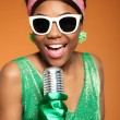 Vintage soul funk woman singing. Black african american. — Stock Photo