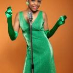 Vintage soul funk woman singing. Black african american. — Stock Photo #22944292