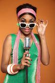 Vintage soul funk woman singing. Black african american. — Stock Photo