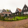 Street with houses in old dutch village. Grey cloudy sky. Panora — Stock Photo