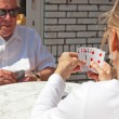 Senior couple playing card game outdoor in garden. — Stock Photo