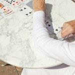 Senior woman playing card game outdoor in garden. — Stock Photo