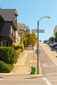 Corner of a street in San Francisco. Blue sky. — Stock Photo