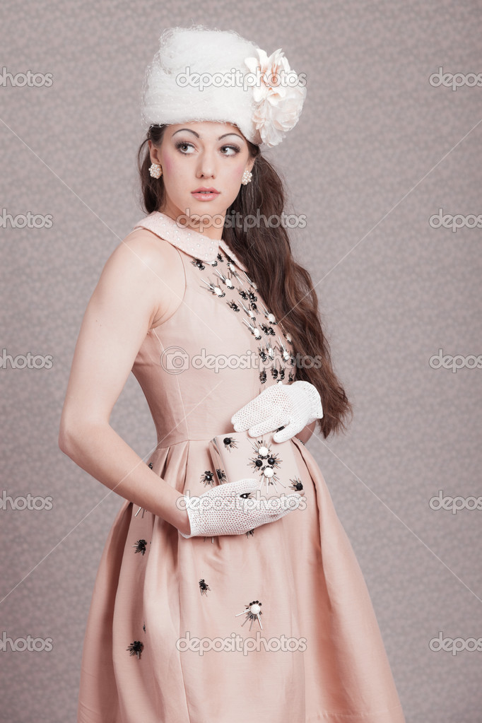 Romantic Vintage Fashion Woman Pink Dress And White Hat Flower Stock Photo Ysbrand 25982677
