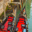 Close-up of venetian gondola boats. Venice. Italy. — Stock Photo