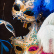Colorful traditional venetian masks at souvenir shop. Venice. It — Stock Photo