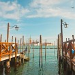Pier for gondola boats at canal in Venice. Italy. — Stock Photo #26105365