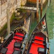 Close-up of venetian gondola boats. Venice. Italy. — Stock Photo #26105429