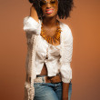 Vintage 70s fashion black woman with sunglasses. White shirt and — Stock Photo