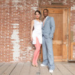 Vintage fashion romantic wedding couple in old urban building. M — Stock Photo #27631189