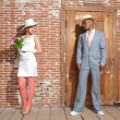 Vintage jazz fashion sexy wedding couple in old urban building. — Zdjęcie stockowe
