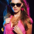 Sensual retro 80s fashion disco girl with long blonde hair and s — Stock Photo #28277051