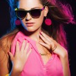 Sensual retro 80s fashion disco girl with long blonde hair and s — Stock Photo