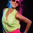 Sexy retro 80s fashion disco girl with long blonde hair and pink — Stock Photo