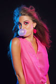 Sexy vintage 80s fashion bubble gum girl with long blonde hair. — Stock Photo