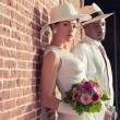 Vintage fashion romantic wedding couple in old urban building. M — Foto de Stock