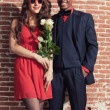 Stock Photo: Urban cool retro fashion mixed race wedding couple wearing black