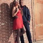 Urban cool vintage fashion mixed race wedding couple wearing bla — Stock Photo #28609959