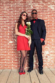Urban cool retro fashion mixed race wedding couple wearing black — Stock Photo