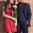 Urban cool retro fashion mixed race wedding couple wearing black — Stock Photo #28610013