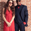 Urban cool retro fashion mixed race wedding couple wearing black — Stock Photo #28610081