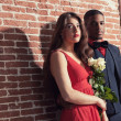 Urban cool vintage fashion mixed race wedding couple wearing bla — Stock Photo