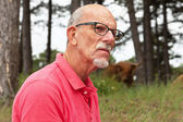 Senior gepensioneerde man met baard en in forest met scottis bril — Stockfoto