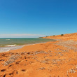 panoramisch lange belichtingstijd shot van strand met blauwe hemel. issos strand — Stockfoto #32088313