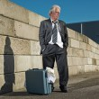 Depressed senior business man with suitcase without a job and ho — Stock Photo #34163759