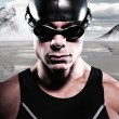 Triathlon swimmer man with cap and glasses outdoor at a frozen l — Stock Photo #34887537