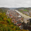 Top view of the city of Dinant with church on a cloudy day. Seen — Stock Photo