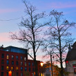 Houses and trees at sunset. Mechelen. Belgium. — ストック写真