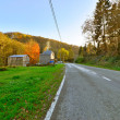 Road with houses and trees in autumn mountain landscape. Vresse  — Stock Photo
