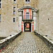 Entrance porch of the castle Lavaux-Sainte-Anne. Rochefort. Arde — Stock Photo