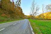 Road in autumn mountain landscape. Vresse sur Semois. Ardennes. — Stock Photo