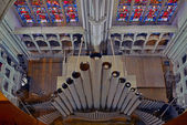 Top view of church pipe organ. Sint Rombout cathedral of Mechele — Stock Photo