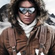 Asian winter sport fashion man with sunglasses and backpack in a — Stock Photo