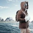 Asian winter sport fashion man with sunglasses and backpack in a — ストック写真