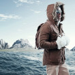 Asian winter sport fashion man with sunglasses and backpack in a — Stock Photo #36520923