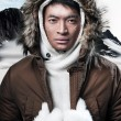 Asian winter sport fashion man in snow mountain landscape. Weari — Stock Photo #36520957