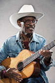 Kölelik zamanında Retro kıdemli afro Amerikalı blues adam. nedir — Stok fotoğraf