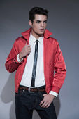 Retro rock and roll fifties fashion man with dark grease hair. W — Stock Photo
